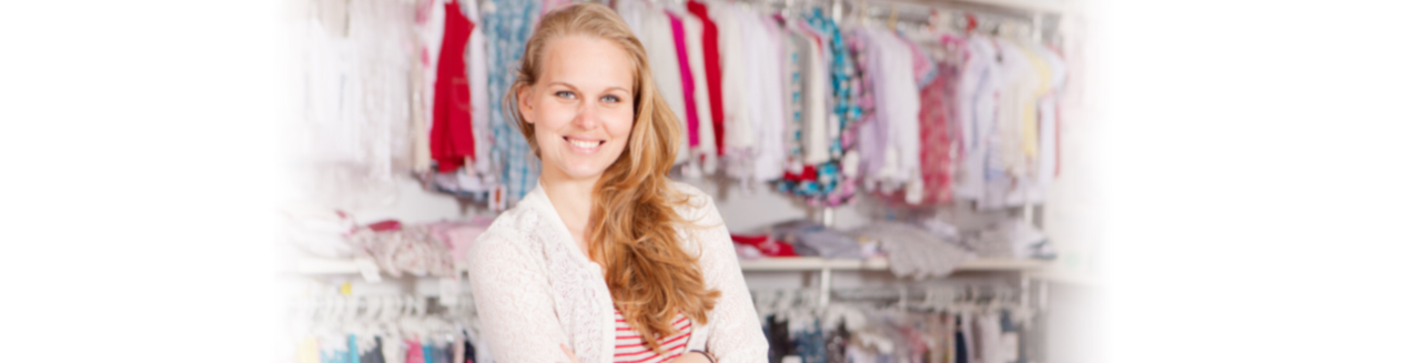 Female business owner in clothing shop,  Cloud Accounting in Pleasanton/East Bay, CA and Boston, MA
